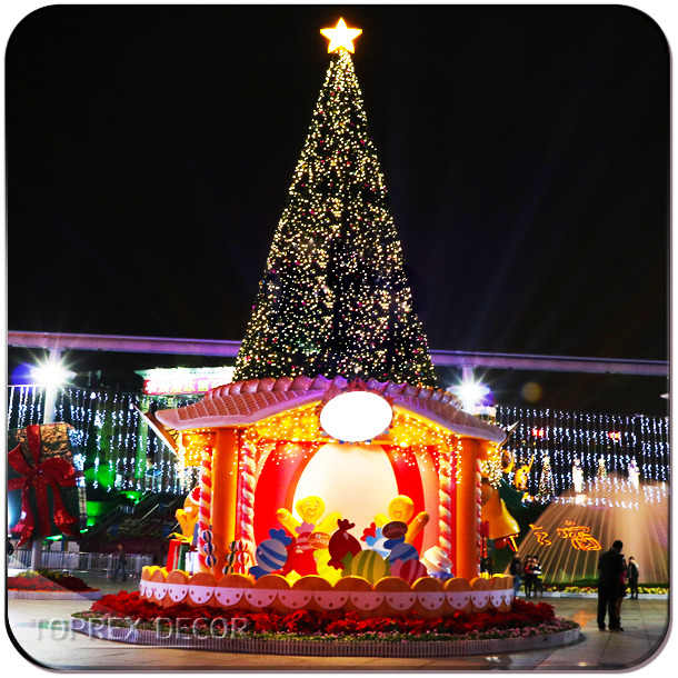 Outdoor giant led christmas tree top star motif light