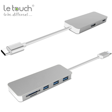 Guangdong supply Aluminum high speed usb3.0 port *1 + usb2.0 port * 2 + SD reader + usb-c PD charging computer usb type c hub
