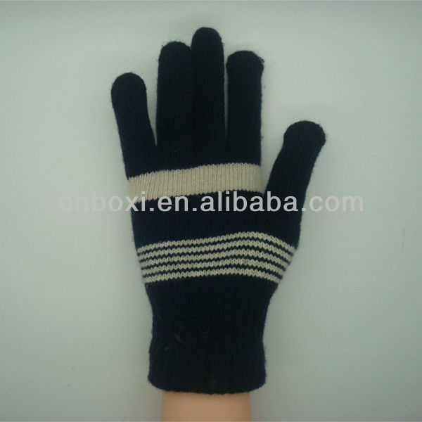 Boxi-High quality double color stripes five fingers wool gloves