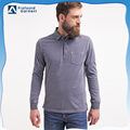 OEM custom men's custom long sleeve fit jersey polo shirt with rib cuff