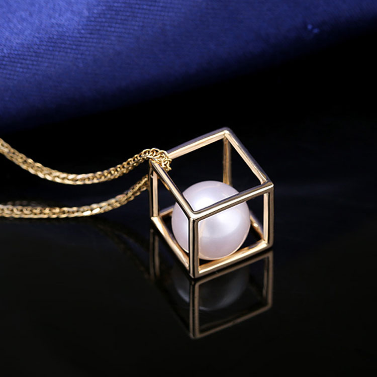 Fashion 14K Solid Gold Cage Pearl Pendant Fine Body Jewelry