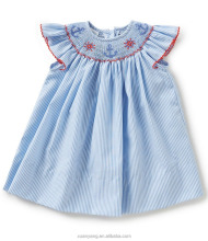 Latest fashion baby girl clothes dress cotton embroider frocks design with smocked dress