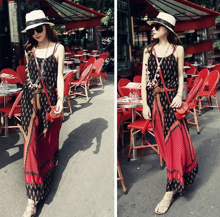Red Vintage Womens Floral Boho Sling Strap Summer Beach Maxi Long Party Dress
