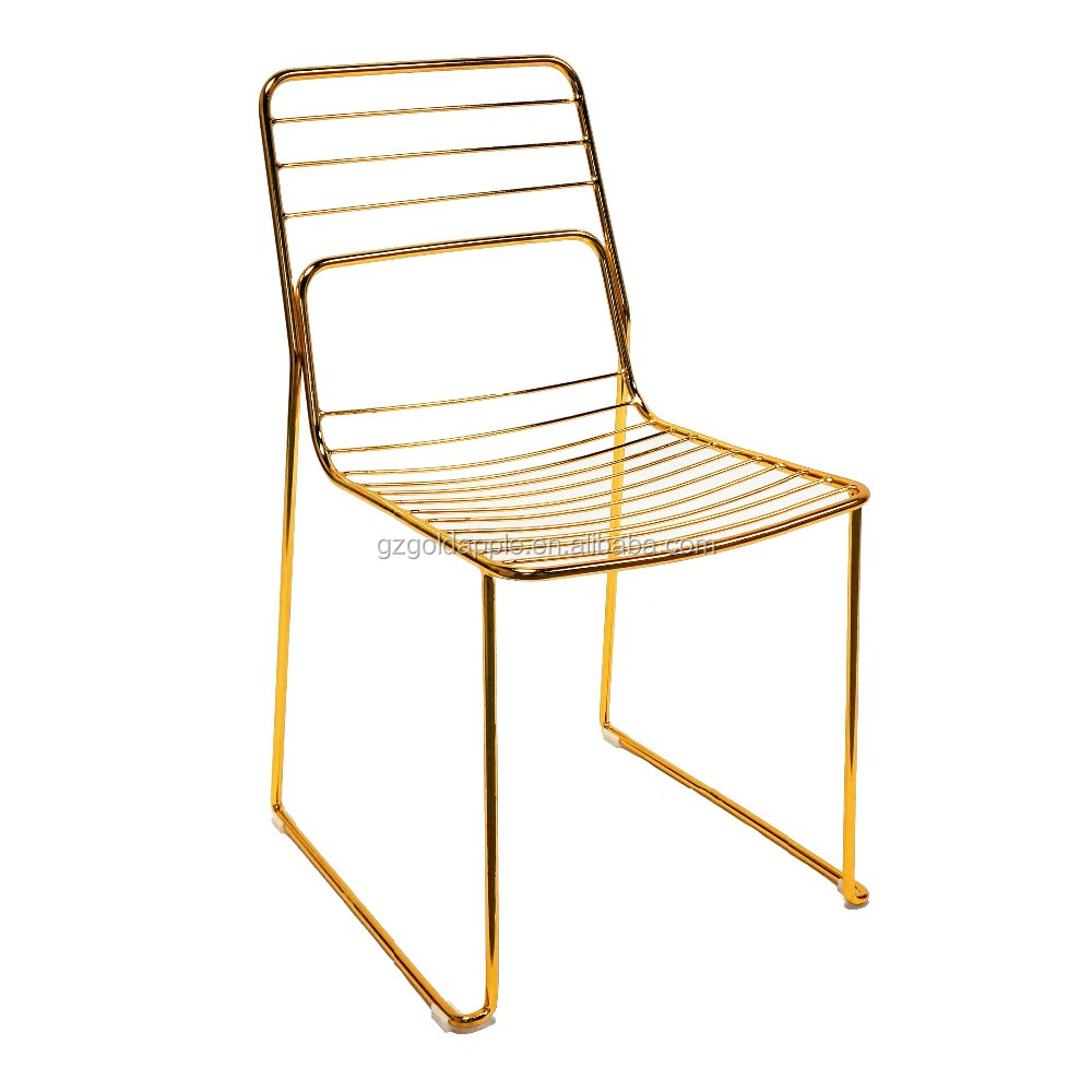 Commercial home gold leaf shape metal wire dining chair for Dining chairs metal frame