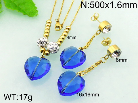 Graceful Blue Crystal Heart Buy Antique Jewelry Gold Plated Bridal Jewelry Set