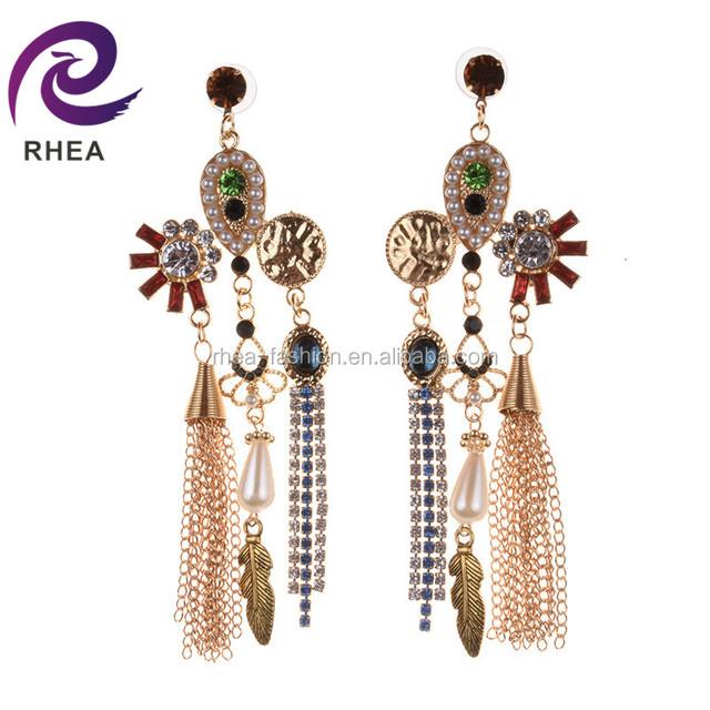 Wholesale Bridal Women Crystal Statement Earring Plant Leaf Drop Tassel Earrings Rhinestone Dangle Earrings Jewelry