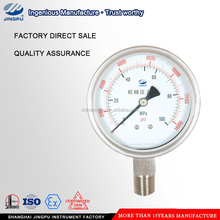 Cheap bottom connection oil filled mechanical pressure gauge