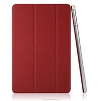Red color with Ultra Slim PU Leather Smart Cover & Clear Back Case for Apple iPad mini 4 (2015 Released)