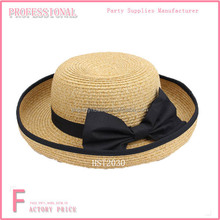 Wholesale Straw bottle Panamar hat cap with belt ribbon