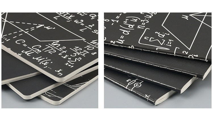 B5 One Color Printing Black Composition Notebook With Stitched Bound