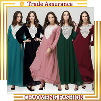 New Arrival Women Elegant Long Sleeve Maxi Kaftan Dress For Islamic Abaya Muslim Clothing