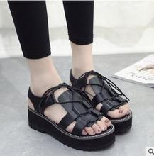Good quality ladies flat shoes hot selling women peep toe design platform shoes roman fashion sandals