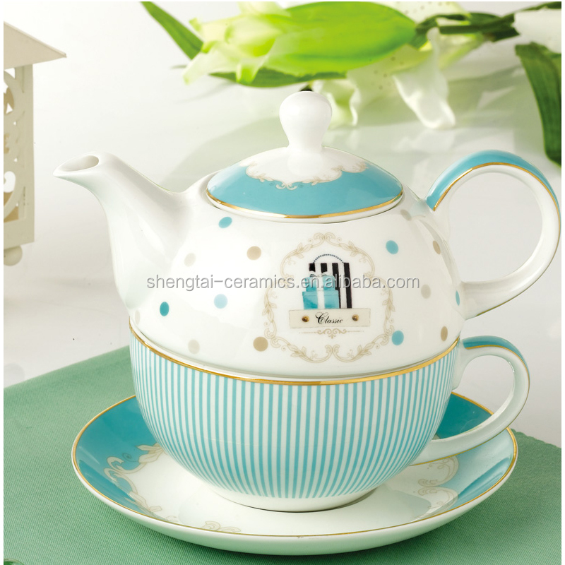 Good Quality Blue Strip Ceramic Bone China combined Teapot Cup In One