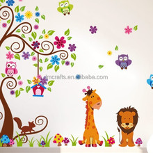 Cute Giraffe Monkey Owl Tree Art Wall Decals/Wall stickers Mural For Kids Nursery Wall Decor Large size 2pcs/Set JM7251AB