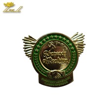 High quality customized wing pin badge, gold enamel pins