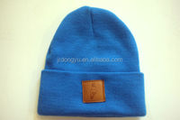 wholesale boys girls blue leather patch knitting winter hat