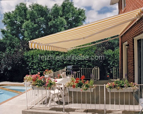 2017 hot selling patio folding arms for outdoor sun shade aluminum retractable awnings