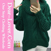 Custom 2016 Dear lover Green Oversized Cowl Neck Cable Knit Sweater