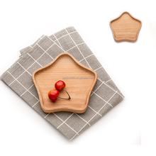Polished personalized stars shape fruit wooden serving <strong>plate</strong>