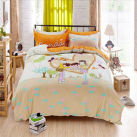 New Arrival luxury korean polyester bedding set 4pcs Romantic Travel Bedding Set Kids Adult Duvet Cover Set