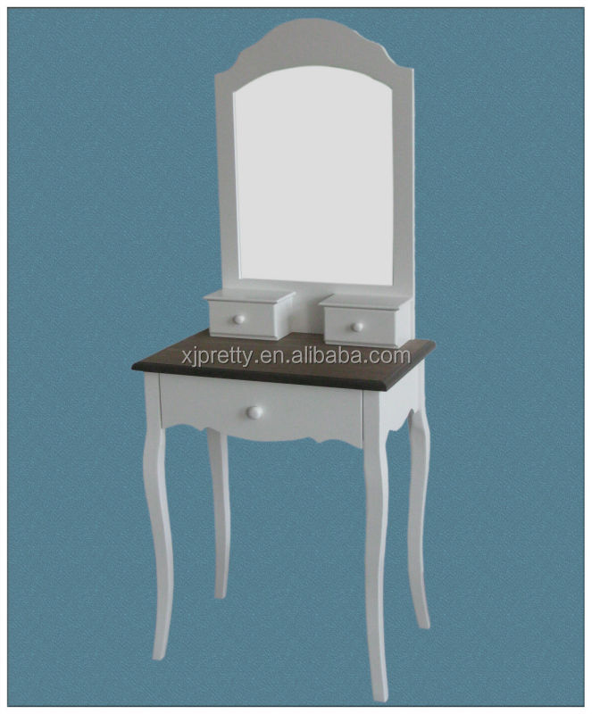 white painted dressing table with mirror and Paulownia top / white bedroom furniture / classical small furniture