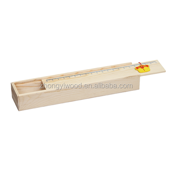 small lovely natural wooden pencil box with scale cover