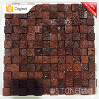 Factory Price 3D Square Red Lava Stone Mosaic Tile