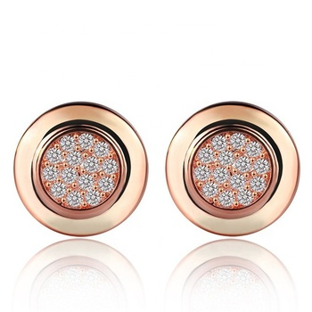 Authentic Signature Round Stud Earrings With Clear CZ Compatible With Original Jewelry