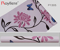 Butterfly&Scroll Floral Prepasted Self-adhesive Wallpaper PVC Pink Wallpaper