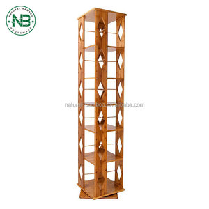 Modern style 5 tier revolving book shelf bamboo ladder bookcase