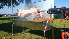 304 Grade Stainless Steel Large BBQ spit roast with Lid (1.5m Long)