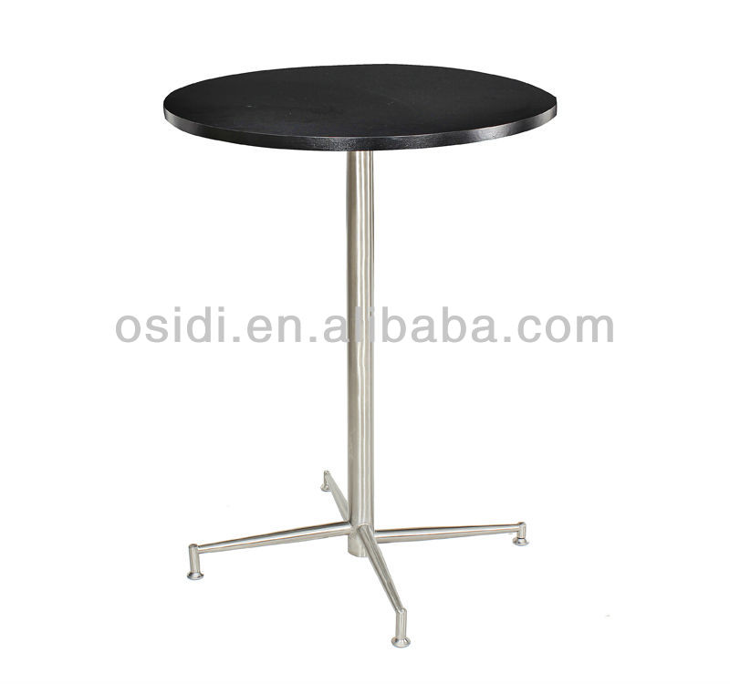 Round stainless steel folding bar table with MDF top