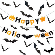 28Pcs Halloween Party Supplies PVC 3D Decorative Scary Bats Wall Sticker Happy Halloween Banner Halloween Decorations