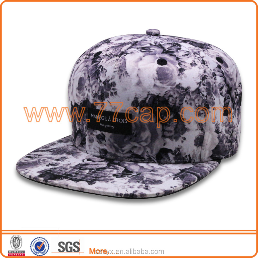 2016 Custom 6 panles Satin All over Printing Printed Snapback Hats Caps