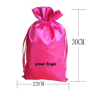 custom brand logo woven hair extensions packaging satin silk luxuary bags