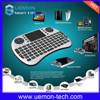 2016 UEMON Latest Black/White I8 Wireless flying Remote Control Mini Keyboard Touchpad with LI-ION Battery