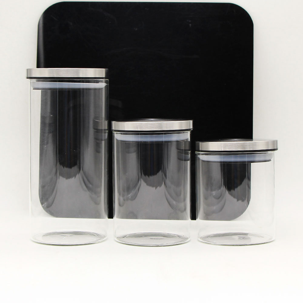 Clear glass jar with lid for storage