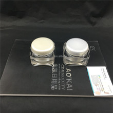 Hot sell big acrylic pearl white jar/50g square shape face mask containers