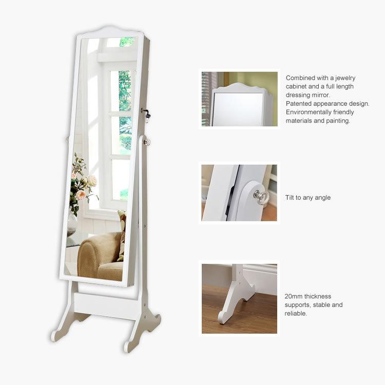 Malaysia Style Standing Mirror Jewelry Storage Wardrobe, Home Furniture