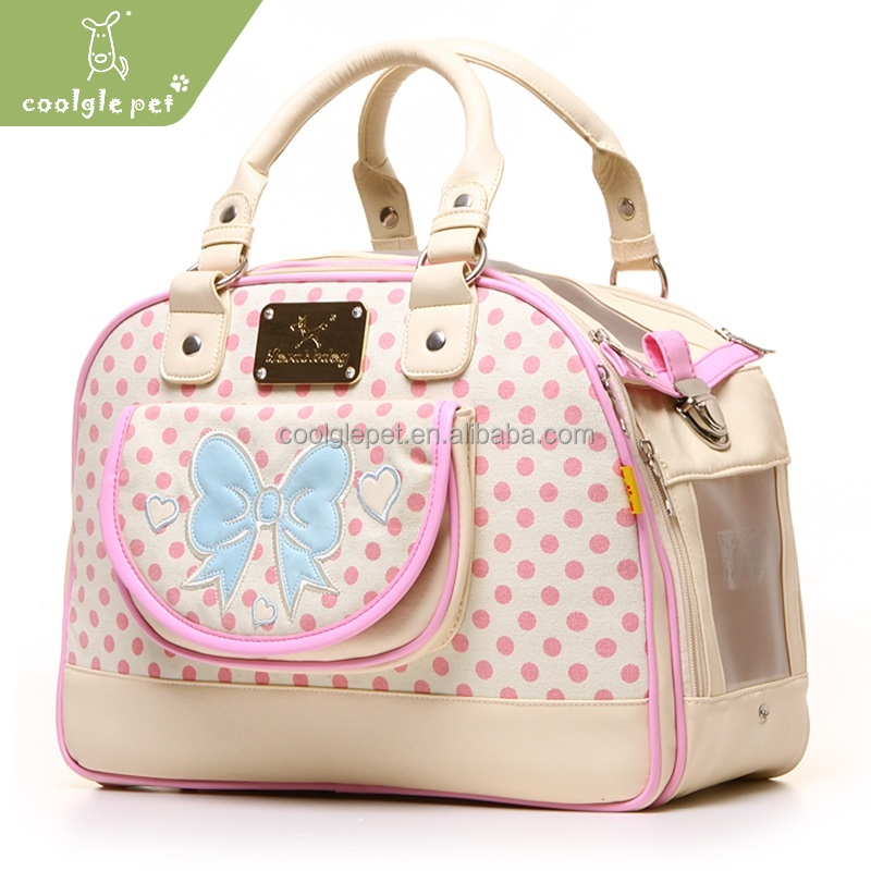 Austria Princess Adorable Pet Dot Pink Travel Bag Leather Walking Dog Carrier