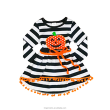 boutique children clothes fashion kids fall winter Halloween dress new design ruffle baby girl long selvess frock wholesale
