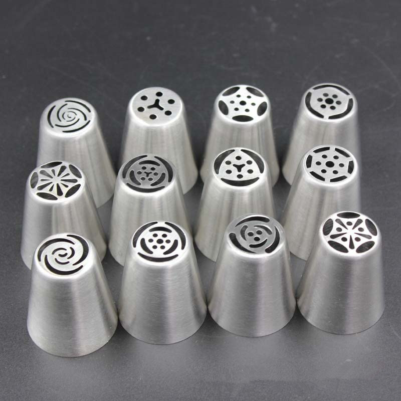 Set Of 12 Russian Tulip Nice Icing Piping Cake Nozzles Butter Cake Decoration Tips Tool Nozzles