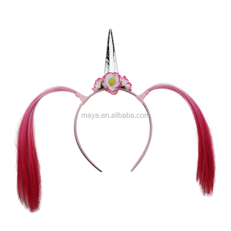 Fashion princess series unicorn hair band with colors wig braid plastic hair band for kids party accessories