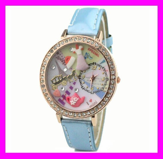 Wholesale blue leather crystal polymer clay korea mini ladies watches for small wrists HD2205