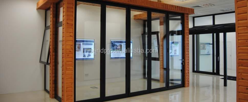Aluminum Doors Wall : Interior aluminum profile folding office glass partition