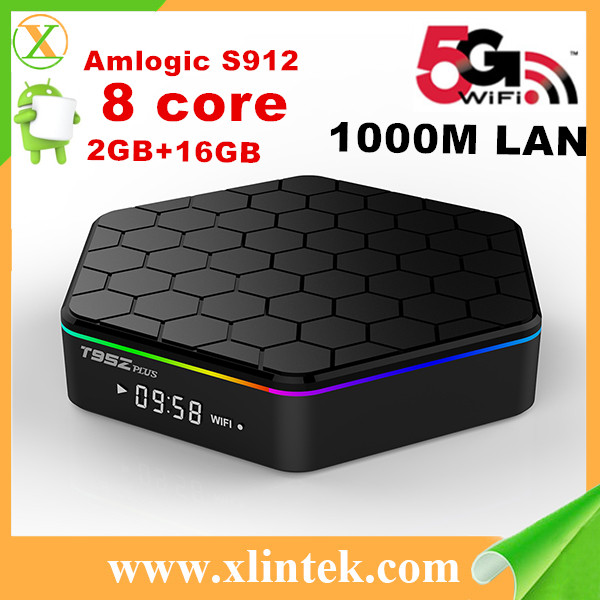 T95Z Plus Amlogic S912 64bit Amlogic Eight Core Android 6.0 Operating System 2GB 16GB Bt4.0 2.4G 5.0G 4K Player