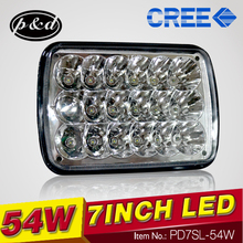 2016 new light led sealed beam 54W retangle 5x7 LED car headlight