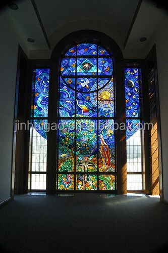 Large curved stained glass panel for window and door