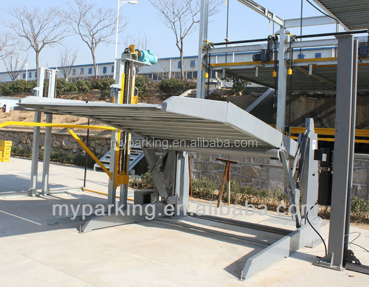Supply 2 level two post hydraulic tilting simple auto parking lift