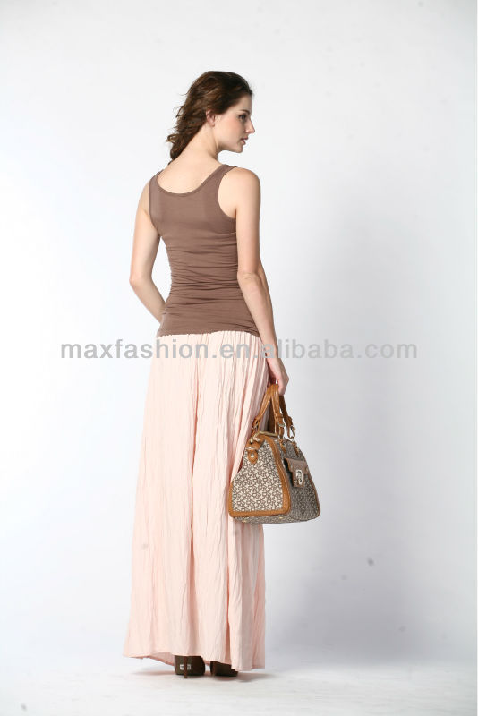 New European Style Maxi Skirts Pleated Long Skirt